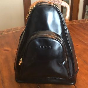 Gucci Black Patent Leather Backpack